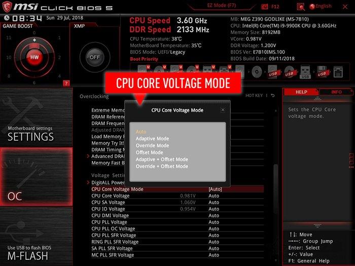 调整CPU掉压补偿