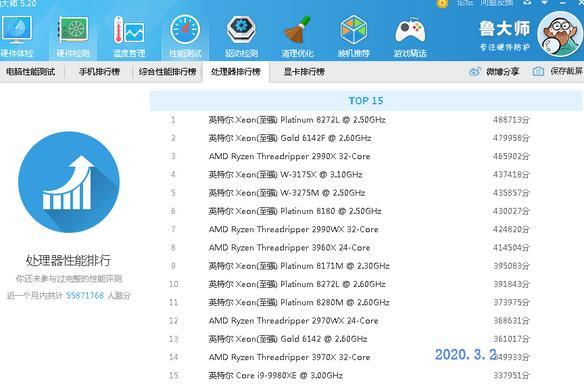 2020年3月台式机CPU天梯图鲁大师版
