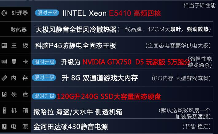 GTX750搭配240G固态硬盘办公主机只需1000元