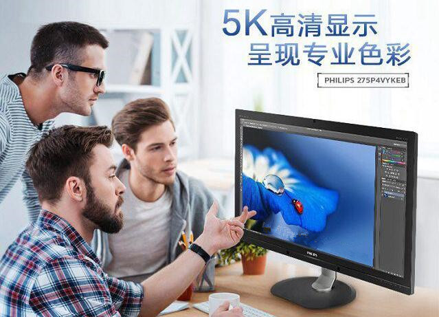 飞利浦275P4VYKEB 27英寸PLS广色域5K高清显示器