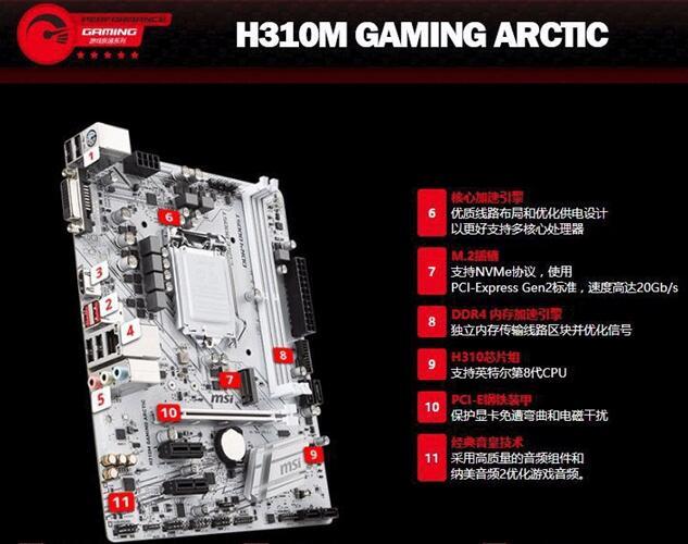 白色主题主机主板:微星H310M GAMING ARCTIC白色