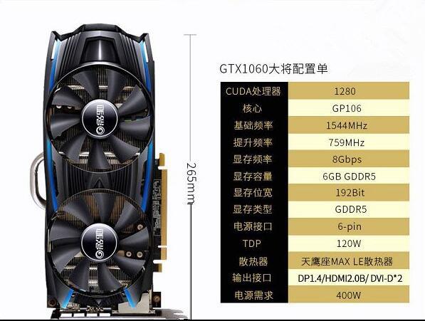 推荐的这款影驰GTX1060 大将 6GB显卡