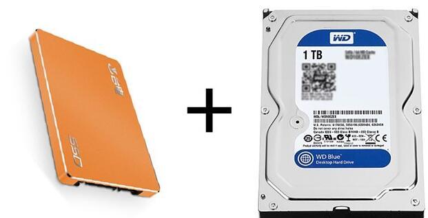 台电120GB固态+西部数据1TB 7200转机械 双硬盘