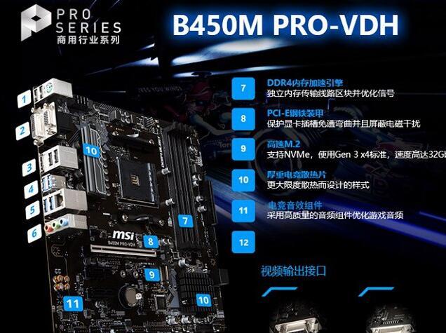 微星B450M PRO VHD主板