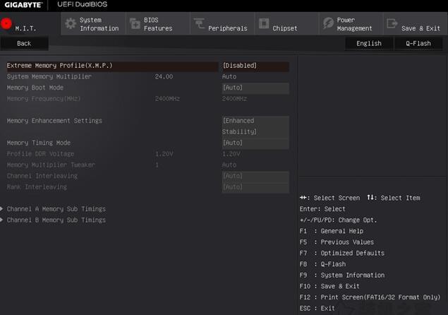技嘉主板bios内存参数设置