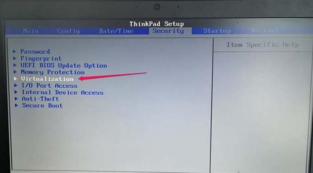 thinkpad笔记本开启VT虚拟化方法第2步