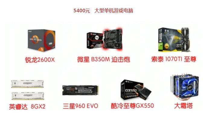 5000元的玩大型单机游戏电脑配置单