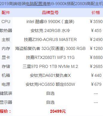 i9 9900k加2080ti显卡配置单